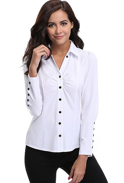 a80ebe3fa MISS MOLY - Camisas - para Mujer Blanco Blanco X-Small: Amazon.es ...