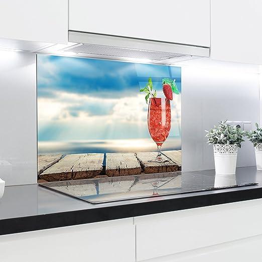 HitGlass Paneles de Cristal Cocina Splashback – Bañador Estampado Resistente al Calor Vidrio endurecido 90 x 65 cm: Amazon.es: Hogar