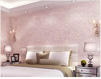Amazoncom Removable Peel And Stick Pink Damask Wallpaper Mural