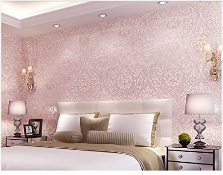 Removable Peel And Stick Pink Damask Wallpaper Mural Roll Prepasted Self Adhesive Non Woven Fabric Home Decor Wall Paper
