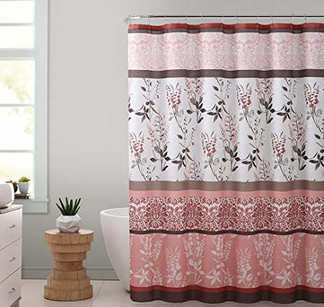 Coral Brown And White Fabric Shower Curtain With Printed Floral Medallion Design 72quot