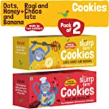 Slurrp Farm Healthy Wholegrain Cookies, Ragi, Chocolate, Oats, Honey And Banana With Zero Transfat, Yummy Snack For Kids, 75g (Pack Of 2)