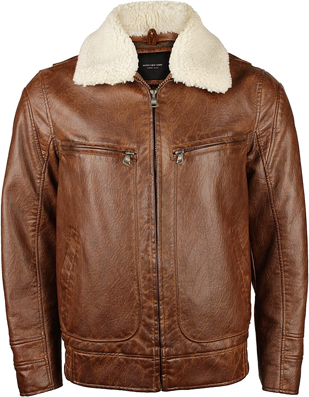 Marc New York by Andrew Marc Mens Amherst Distressed Faux Leather Jacket