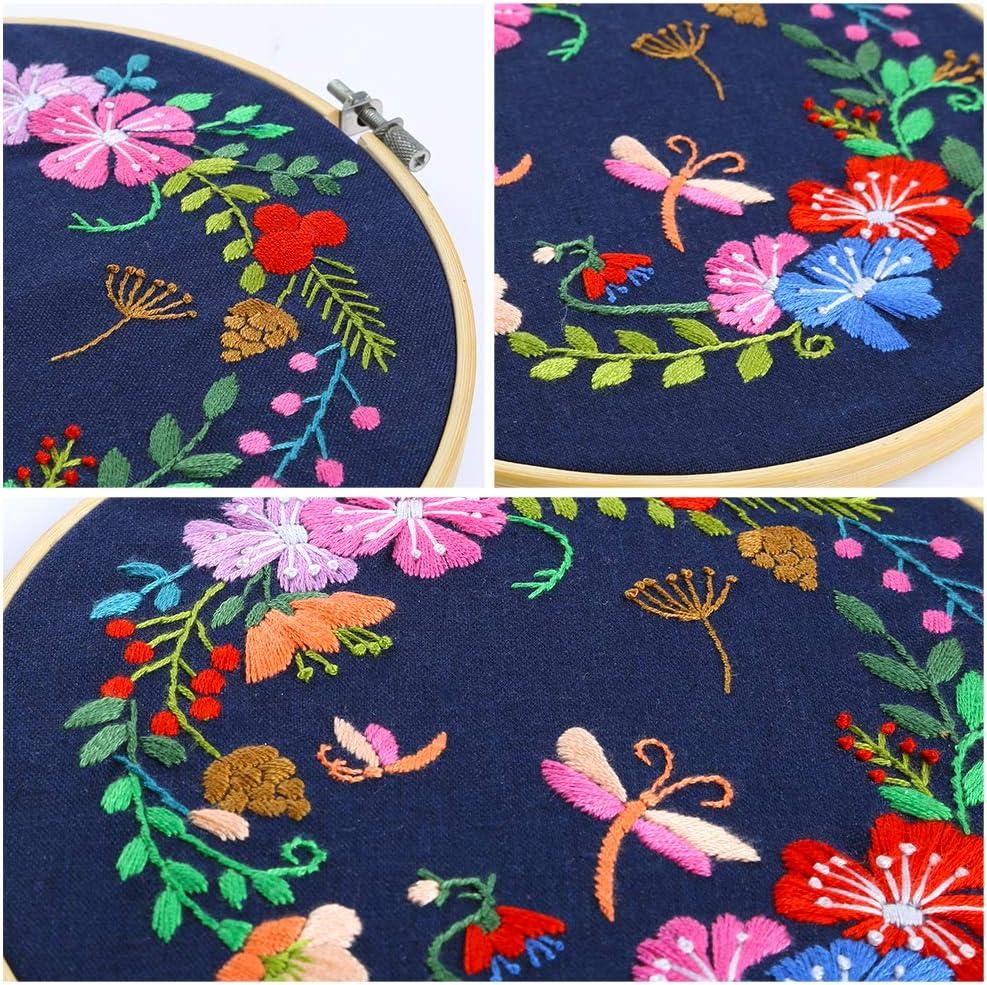 v/êtements /à broder avec motif floral Caydo Kit de broderie complet avec patron et instructions fils de couleur et outils fran/çais non garanti cerceaux /à broder en bambou