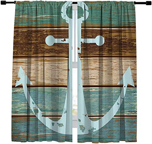 Misscc Blackout Curtains Nautical Anchor on Vintage Wooden Board Pattern Window Curtains,Window Treatments Draperies for Bedroom Living Room Kitchen Cafe 2 Panels Set