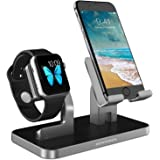 Apple Watch Stand, Apple Watch and iPhone Charging Stand BENTOBEN Charge Holder Docking Station Cradle Nightmode stand for iWatch Series 3/2/1 iPhone/ iPad Mini and Other Cell Phone with Silicone Charger Holder Detachable Construction Anti Slip Rubber - Space Gray/ Black