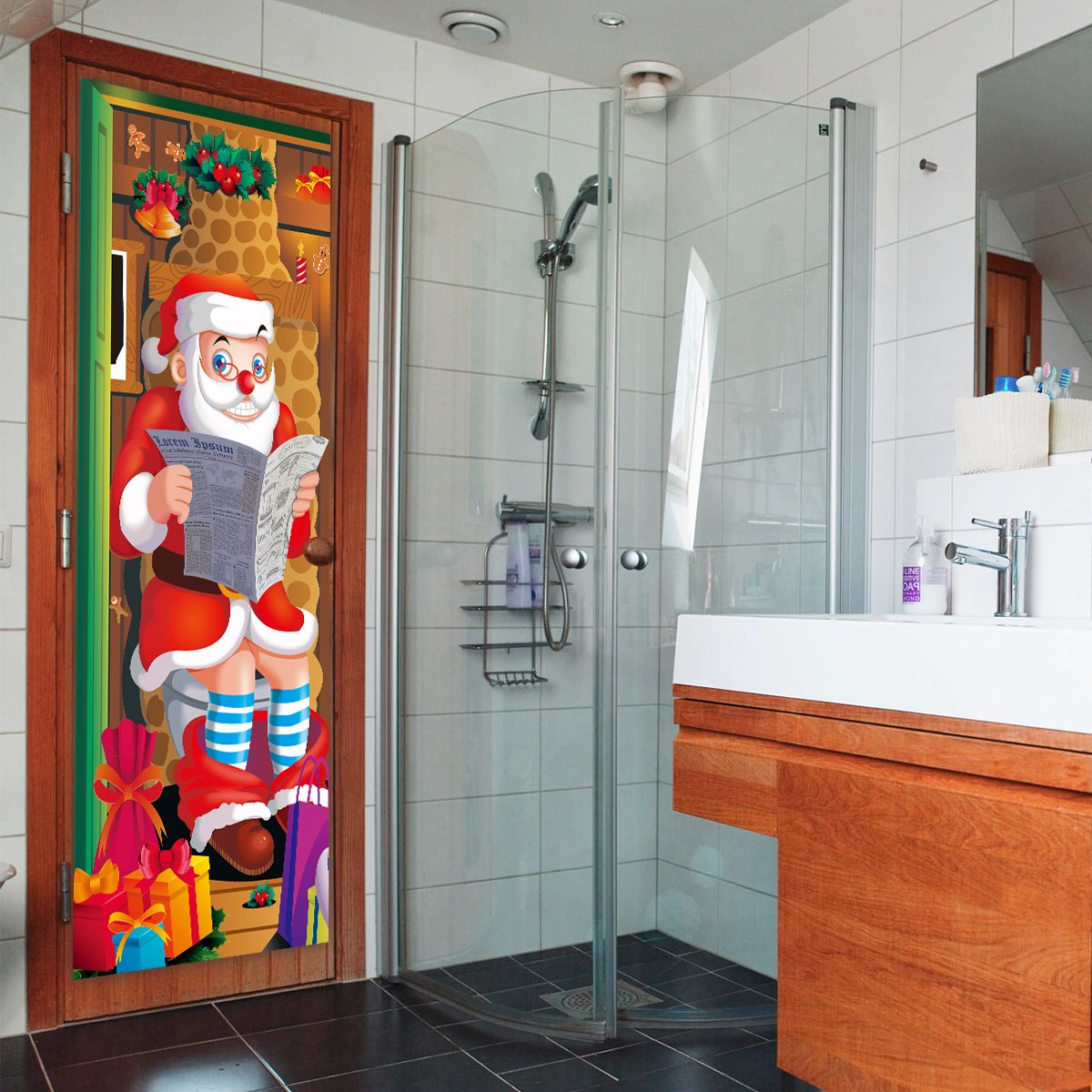 Unomor 2 Pack Christmas Door Covers Decoration Santa Claus Door Covers Poster for Xmas/Holiday/Party Home Decoration Ornament Front Door Bathroom Toilet, 31