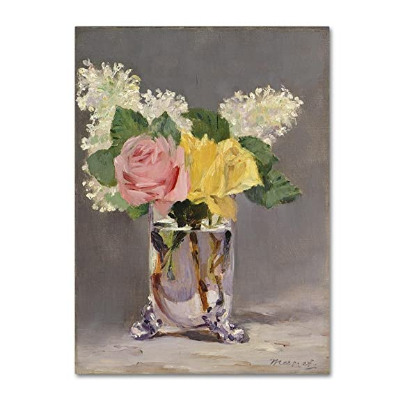Lilacs and Roses by Edouard Manet, 24x32-Inch Canvas Wall Art