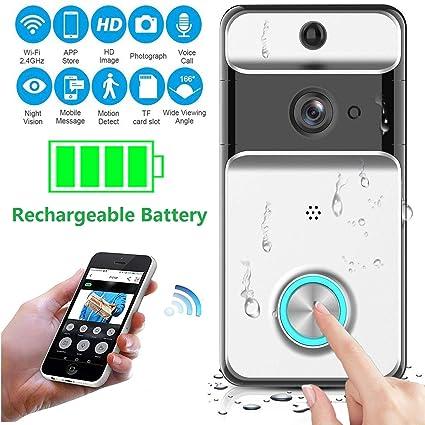 KOBWA Video Doorbell, Impermeable Inalámbrico Videoportero 720HD con Audio bidireccional detección de Movimiento y conexión
