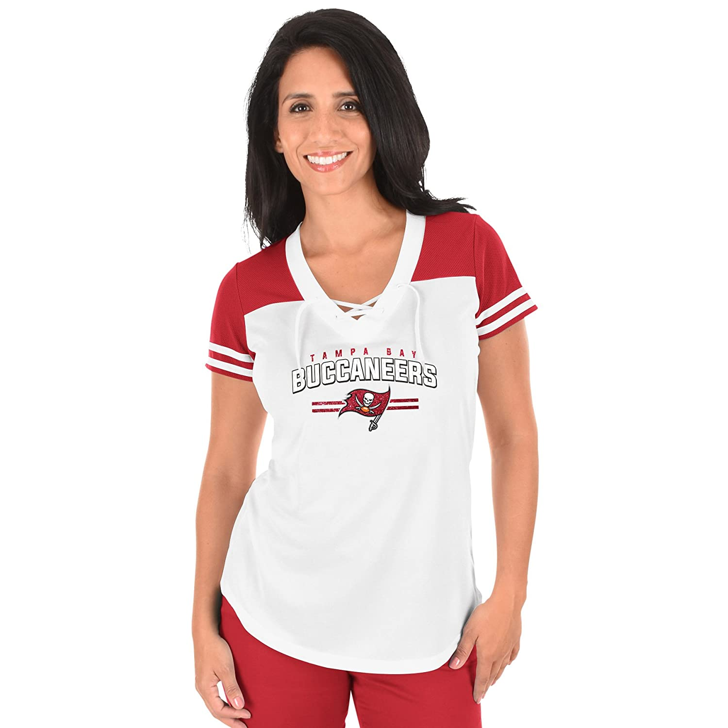 Amazon.com   Profile Big   Tall NFL Tampa Bay Buccaneers Adult Women NFL  Plus S Lace Up V Neck Tee 730be3d6a