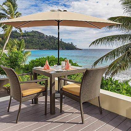 018b437b3e9f OC Orange-Casual Rectangular Patio Umbrella 6.6 by 10 Ft Outdoor Market  Table Umbrellas with Push Button Tilt and Crank Lift, Beige, 6 Sturdy Ribs