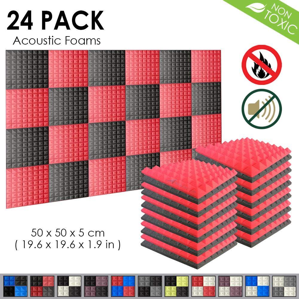 Arrowzoom New 24 Pack of 25 X 25 X 5 cm Pyramid Soundproofing Studio Absorbing Acoustic Foam Tiles Pads Wall Panels AZ-1034 Black /& Burgundy
