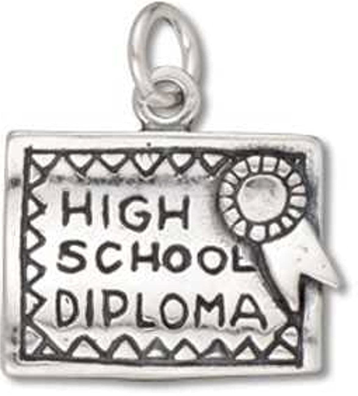 Sterling Silver Girls .8mm Box Chain 3D Open High School Diploma With Award Ribbon Pendant Necklace