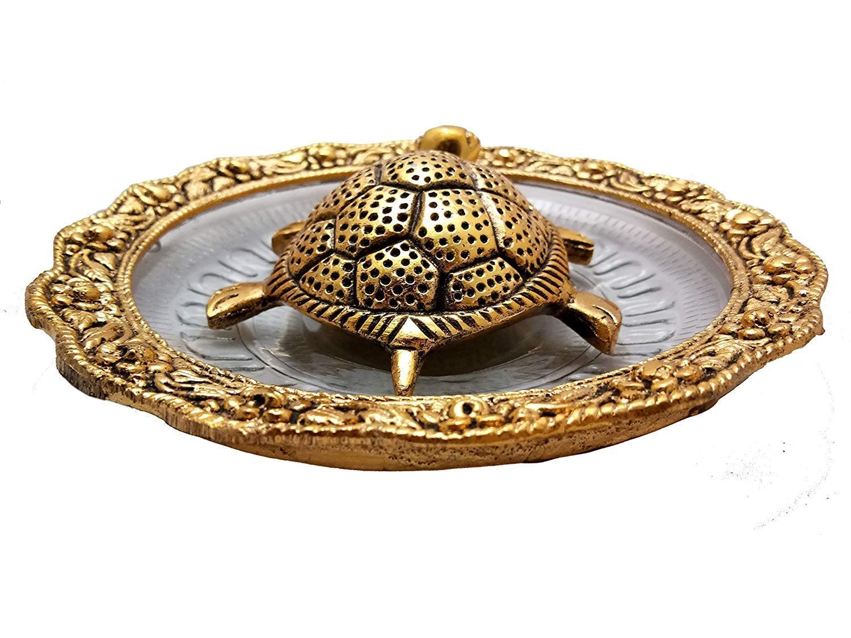 NOBILITY Golden Feng Shui Tortoise at Glass Plate for Good Luck