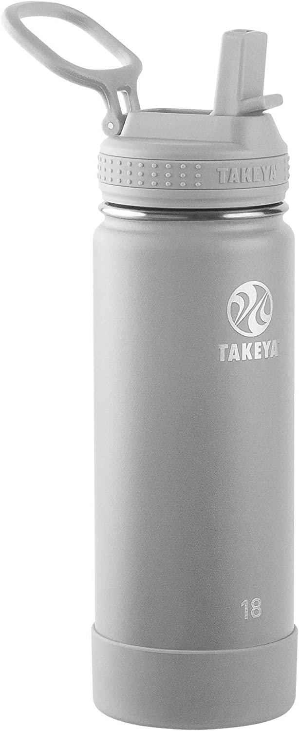 Takeya Actives Insulated Water Bottle w/Straw Lid, Pebble, 18 Ounce