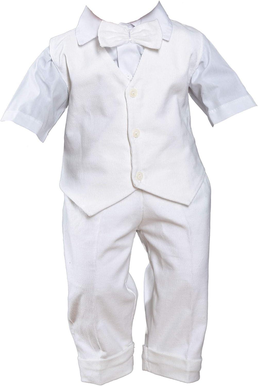 Fantasma Sommer Taufanzug Wei/ß und Taufschuhe Cord Anzug Hochzeitsanzug 4 TLG Set