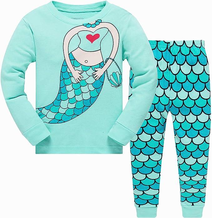 Popshion - Pijama para niña de manga larga 100% algodón, ropa de mariquita, talla de Reino Unido 2-7 T: Amazon.es: Ropa y accesorios