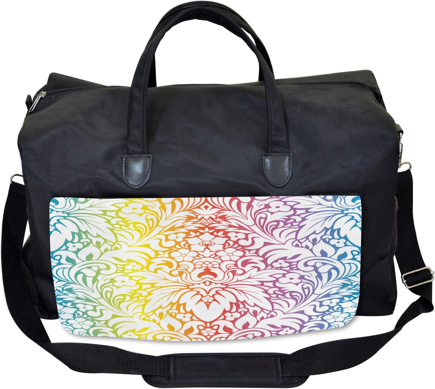 Colorful Damask Flowers Large Weekender Carry-on Ambesonne Floral Gym Bag