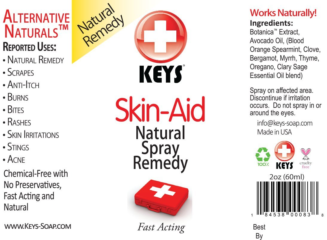 Keys Skin-Aid Vegan, Chemical-Free, All Natural Antiseptic Analgesic Spray Therapy Remedy, Fast Acting Pharmaceutical Grade Ingredients in Therapeutic Proportions, No Lidocaine, 2 ounces