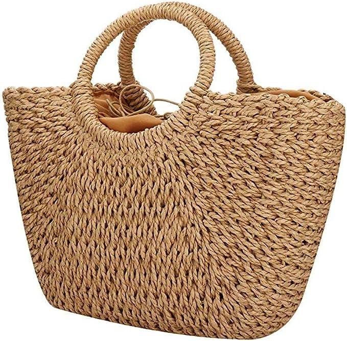 Handtasche Damen Stroh Damentasche Geflochten Groß Beige Schultertasche Strand