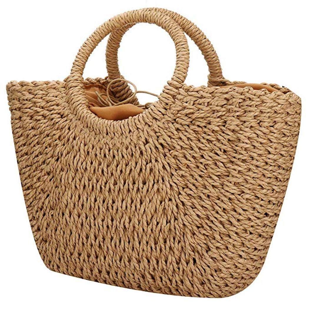 Kwolf Grand sac fourre-tout en paille tiss/ée /à rayures r/étro /ét/é plage sac de plage pour femme avec poign/ée ronde