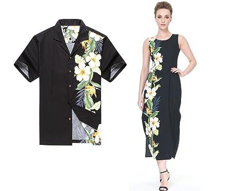 05567b0ed696 Made in Hawaii Couple Matching Luau Aloha Shirt Maxi Tank Dress Side Floral  Black 2XL-
