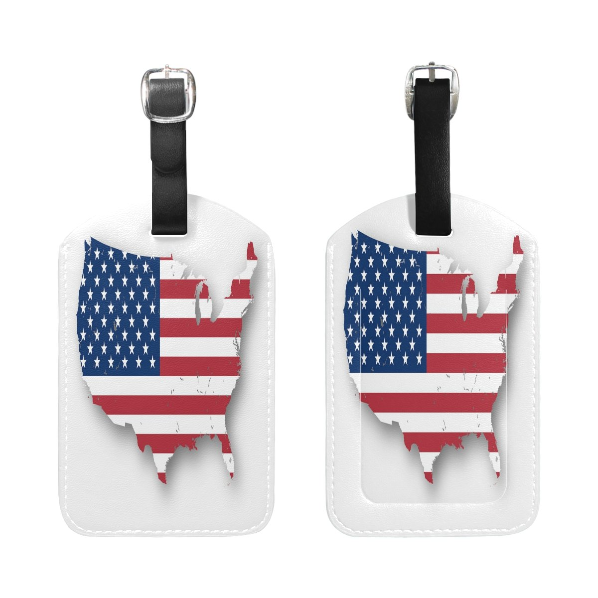 Saobao Travel Luggage Tag American Flag PU Leather Baggage Suitcase Travel ID Bag Tag 1Pcs