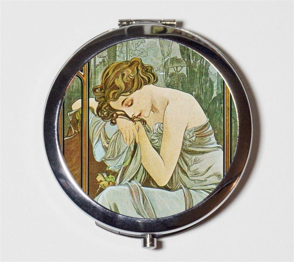 Alphonse Mucha Compact Mirror Art Nouveau Edwardian Sleeping Bohemian Gypsy Boho Make Up Pocket Mirror for Cosmetics
