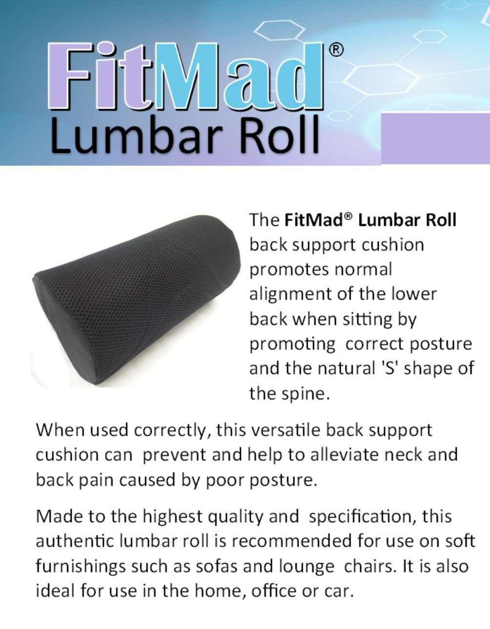 Original 4 Lumbar Roll (Heavy Density) - Helps Prevent Back Pain - Lower Back Support Cushion for your Home, Office Chair and Car - NEW Ergonomic ...