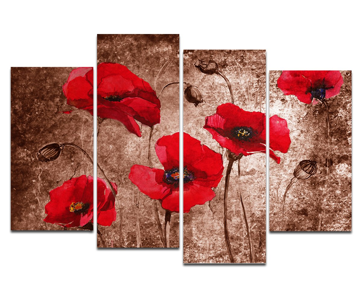 Well-known Amazon.com: Wieco Art Red Poppies on Brown Large 4 Panels Modern  DI62