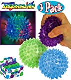 Toysmith Light-Up Flashing Spiky Ball Blue, Green & Purple Bundle - 3 Pack
