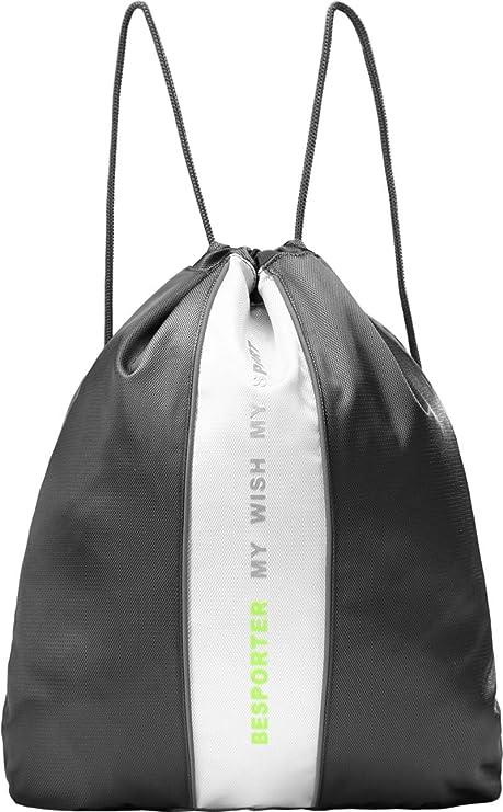 Besporter Bolsa de Gimnasio Con Mochila Para Zapatos Compartimento para Hombres y Mujeres-Gris