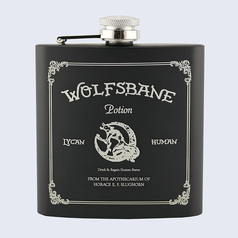 Stainless Steel Black 6oz Hip Flask Harry Potter Inspired WOLFSBANE POTION
