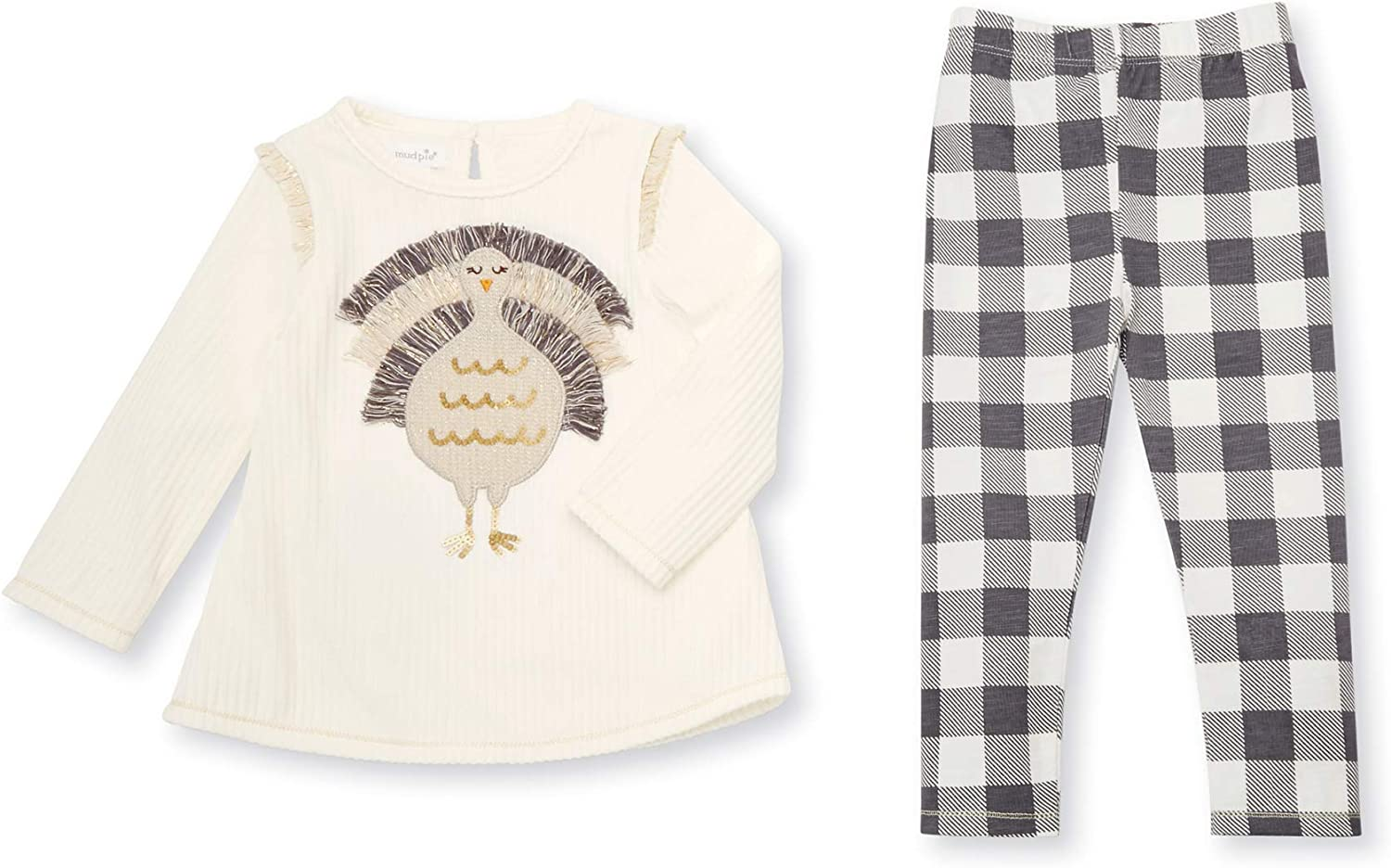 Mud Pie Baby Girls' Thanksgiving Turkey Long Sleeve Tunic & Legging 2 Piece Set