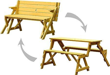 Amazon De Dobar 29301fsce Praktische Garten Sitzbank 2 In 1 Kombination Aus Tisch Und Bank Fsc Holz Sitzgarnitur Hellbraun 138 X 144 X 77 Cm