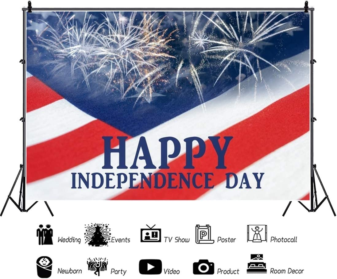 Yeele 10x8ft Happy Independence Day Photography Background Cartoon Fireworks Celebration American Flag July 4th Photo Backdrop Studio Props Video Drape