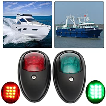 2 Pcs Navigation 8 LED Marine Bow Boat 12V Yacht Pontoon Green Red Bright Lights