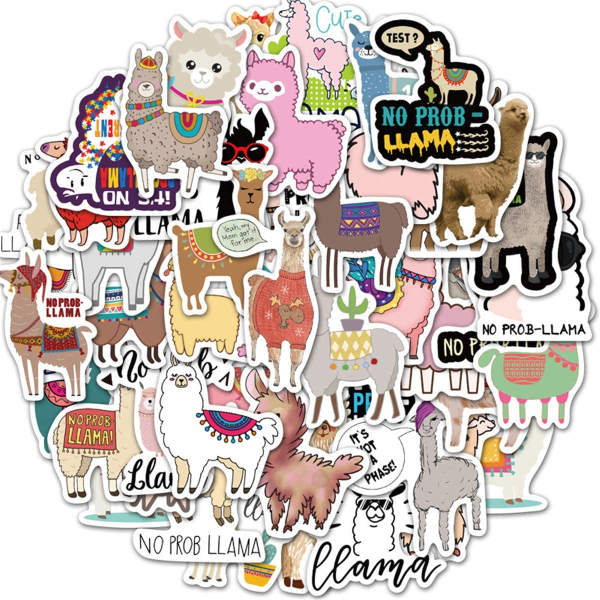 Cute Alpaca Stickers (50 PCS) Funny Internet Pop Animal Stickers for Teens, Girls, Adults,Kids - Stickers for Waterbottles,Laptop,Phone,Hydro Flask - Waterproof Vinyl Sticker (Alpaca)
