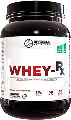 Barbell Medicine, Whey Protein Isolate Powder with Pure BCAAs 2 1 1 Ratio , Jordan Feigenbaum, Non-GMO, GMP, Chocolate, 786 Grams