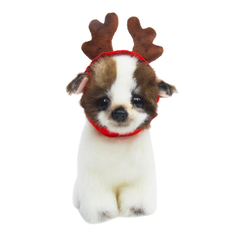HBuir Pet Reindeer Santa Hat Christmas Costume Antlers Head Wear for Dog