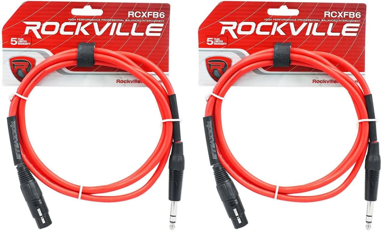 6 Colors 6 Rockville 6/' Male REAN XLR to 1//4/'/' TRS Balanced Cable OFC