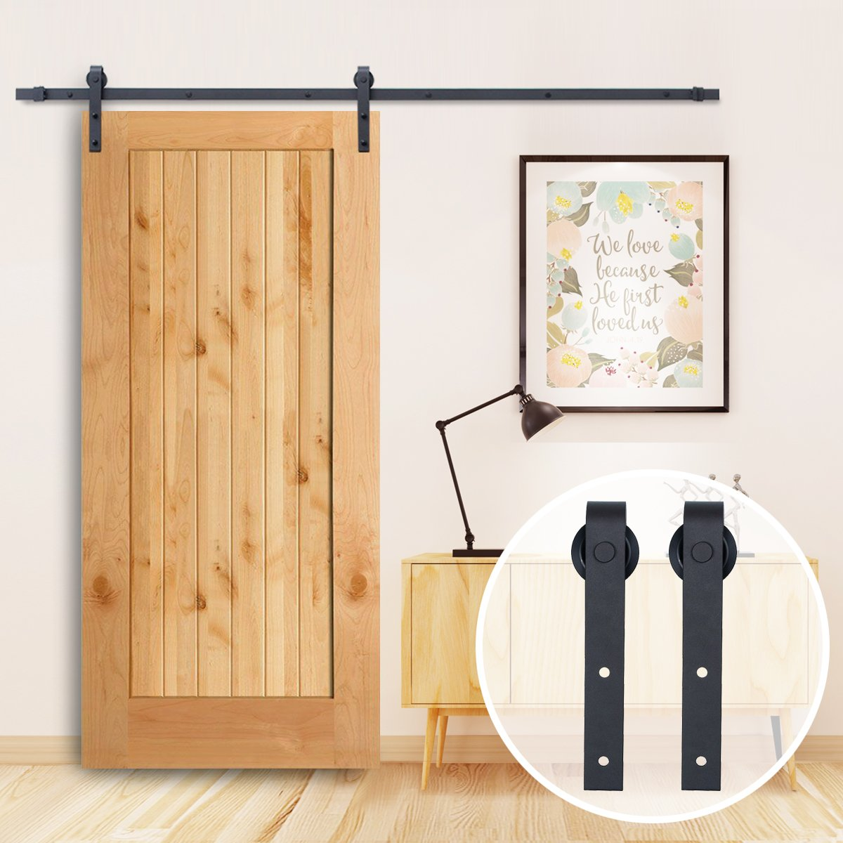 TCBunny 8FT Sliding Barn Door Hardware Kit Black Antique Smooth and Quiet Steel Track Set