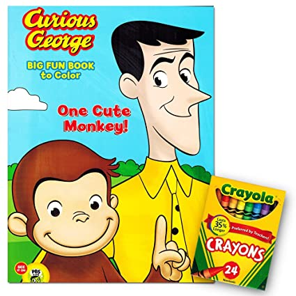 Amazon.com: Curious George Jumbo Coloring Book with Crayola Crayons ...