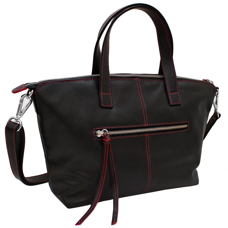 ili Leather Zippered Satchel Handbag