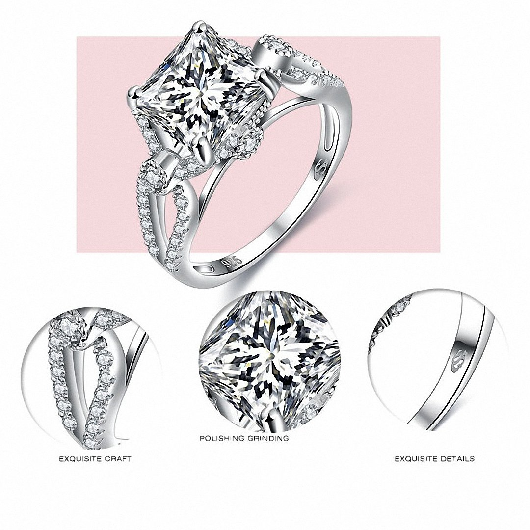 Kalapure Jewelry 2.7ct S925 Sterling Silver Cushion Cut Cubic Zirconia Infinity Anniversary Engagement Bridal Ring Wedding Band