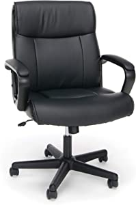 Luxirious Leather Office Chair, Ergonomic PU Desk Task Executive Chair Rolling Swivel Chair Adjustable Computer Chair with Lumbar Support Chair, Adjustible Office Chair with Arms - Black