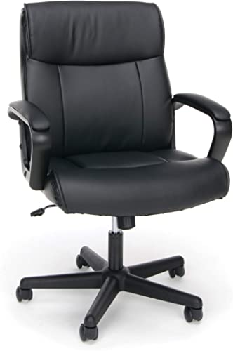 OFM Essentials Collection Bonded Leather Executive Chair with Arms, in Black ESS-6010