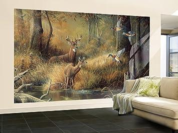 Attractive (99x164) October Memories Deer Ducks Hunting Huge Wall Mural Part 12