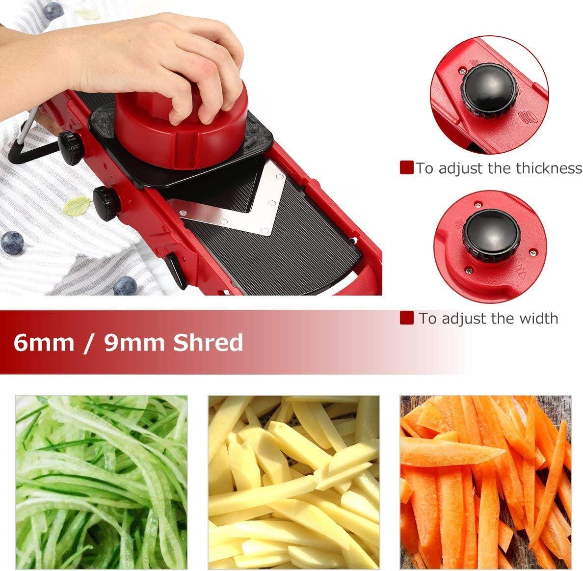 Cortador de patatas fritas con cuchilla en V, cortador de verduras ajustable, cortador de verduras 3 en 1, tiras (6/9 mm), discos (1 – 6 mm), dados (cuadrados/rombos) afilados: Amazon.es: Hogar