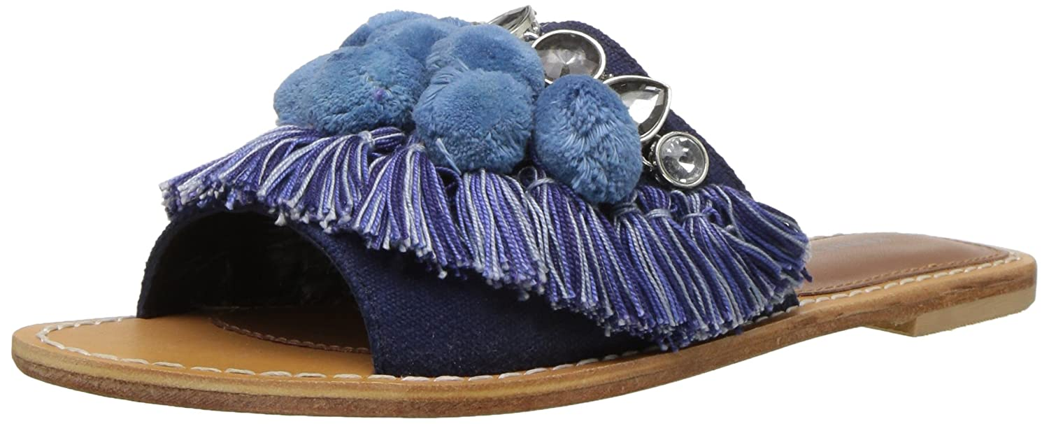 Kenneth Cole New York Women's Osmond Fringe Pom Detail Slide Sandal B07C3H1FN4 7.5 B(M) US|Blue Denim